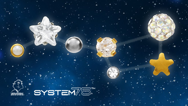 Constellation Piercings: Studex System 75 piercing jewelry